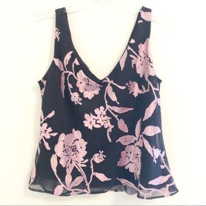 ALEX EVENINGS Sleeveless Floral Blouse, Size L